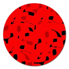 Red and black pattern Magnet 5  (Round)