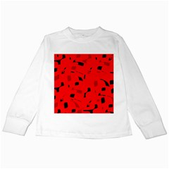 Red and black pattern Kids Long Sleeve T-Shirts