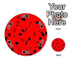 Red and black pattern Playing Cards 54 (Round)