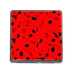 Red and black pattern Memory Card Reader (Square)