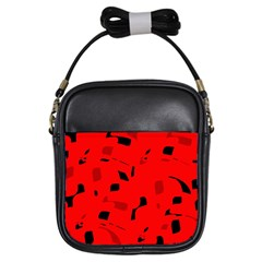 Red and black pattern Girls Sling Bags