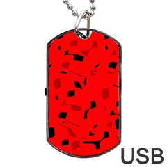 Red and black pattern Dog Tag USB Flash (Two Sides)