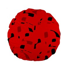 Red and black pattern Standard 15  Premium Round Cushions