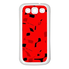 Red and black pattern Samsung Galaxy S3 Back Case (White)