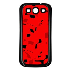 Red and black pattern Samsung Galaxy S3 Back Case (Black)