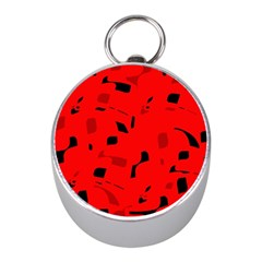 Red and black pattern Mini Silver Compasses