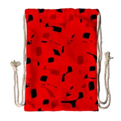 Red and black pattern Drawstring Bag (Large)