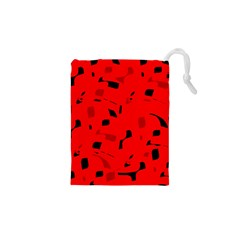 Red and black pattern Drawstring Pouches (XS)