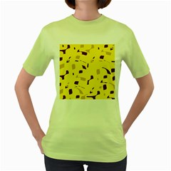 Yellow and purple pattern Women s Green T-Shirt