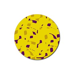 Yellow and purple pattern Rubber Round Coaster (4 pack)