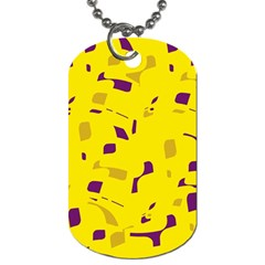 Yellow and purple pattern Dog Tag (One Side)