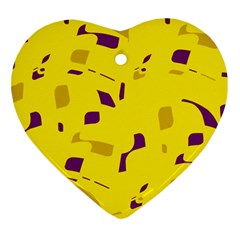 Yellow and purple pattern Heart Ornament (2 Sides)