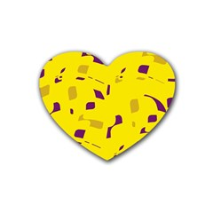 Yellow and purple pattern Rubber Coaster (Heart)