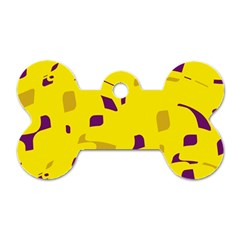 Yellow and purple pattern Dog Tag Bone (One Side)