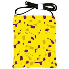 Yellow and purple pattern Shoulder Sling Bags