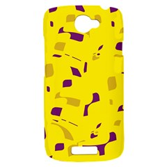 Yellow and purple pattern HTC One S Hardshell Case