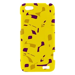 Yellow and purple pattern HTC One V Hardshell Case