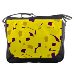 Yellow and purple pattern Messenger Bags