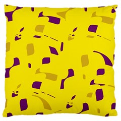 Yellow and purple pattern Large Cushion Case (Two Sides)