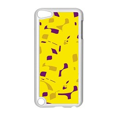 Yellow and purple pattern Apple iPod Touch 5 Case (White)