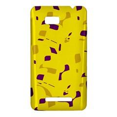Yellow and purple pattern HTC One SU T528W Hardshell Case