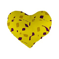 Yellow and purple pattern Standard 16  Premium Heart Shape Cushions