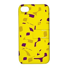 Yellow and purple pattern Apple iPhone 4/4S Hardshell Case with Stand