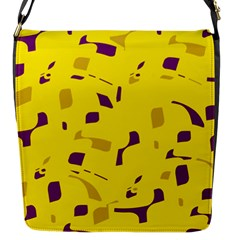 Yellow and purple pattern Flap Messenger Bag (S)