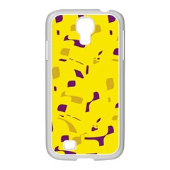 Yellow and purple pattern Samsung GALAXY S4 I9500/ I9505 Case (White)