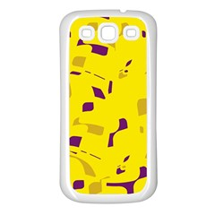 Yellow and purple pattern Samsung Galaxy S3 Back Case (White)
