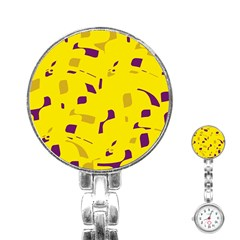 Yellow and purple pattern Stainless Steel Nurses Watch