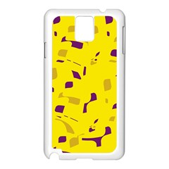 Yellow and purple pattern Samsung Galaxy Note 3 N9005 Case (White)