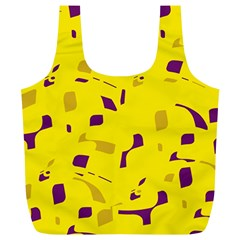 Yellow and purple pattern Full Print Recycle Bags (L)