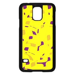 Yellow and purple pattern Samsung Galaxy S5 Case (Black)
