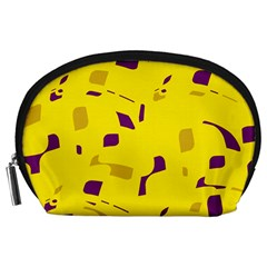 Yellow and purple pattern Accessory Pouches (Large)