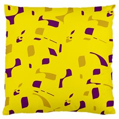 Yellow and purple pattern Large Flano Cushion Case (One Side)