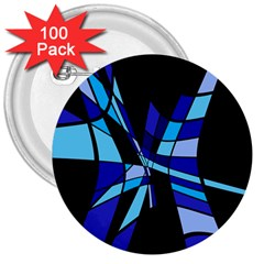 Blue abstart design 3  Buttons (100 pack)