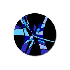 Blue abstart design Magnet 3  (Round)
