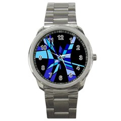 Blue abstart design Sport Metal Watch