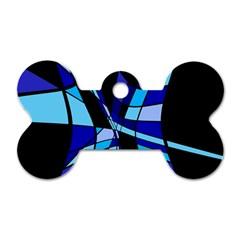 Blue abstart design Dog Tag Bone (Two Sides)