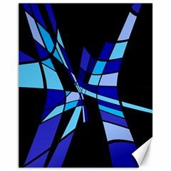 Blue abstart design Canvas 11  x 14