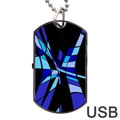 Blue abstart design Dog Tag USB Flash (One Side)