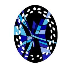Blue abstart design Oval Filigree Ornament (2-Side)