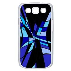 Blue abstart design Samsung Galaxy S III Case (White)