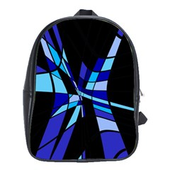 Blue abstart design School Bags (XL)