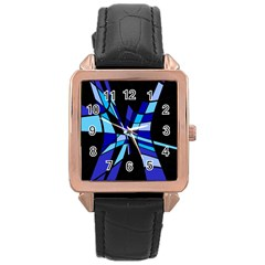 Blue abstart design Rose Gold Leather Watch