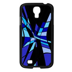 Blue abstart design Samsung Galaxy S4 I9500/ I9505 Case (Black)