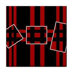 Red and black geometric pattern Tile Coasters