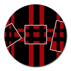 Red and black geometric pattern Round Mousepads