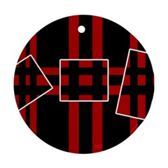 Red and black geometric pattern Ornament (Round)